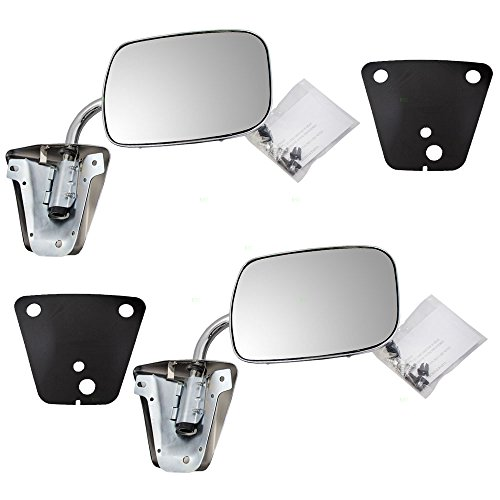 Aftermarket Replacement Pair Manual Side View Stainless Steel Low Mount Mirrors Compatible with 73-91 C/K/R/V Pickup Truck SUV 996220