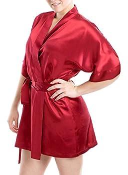 OSCAR ROSSA Women s Luxury Silk Sleepwear 100% Silk Sexy Short Robe Kimono Burgundy Large