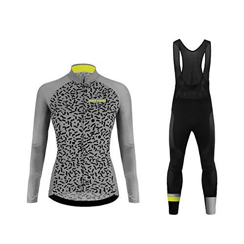 Uglyfrog Donna Maglia da Ciclismo da Ciclismo Inverno Fleece Sweat Maglia da Ciclismo a Manica Lunga+Lungo Bib Pantaloni Body(Due Caricato) Aggiornamento dello Stile