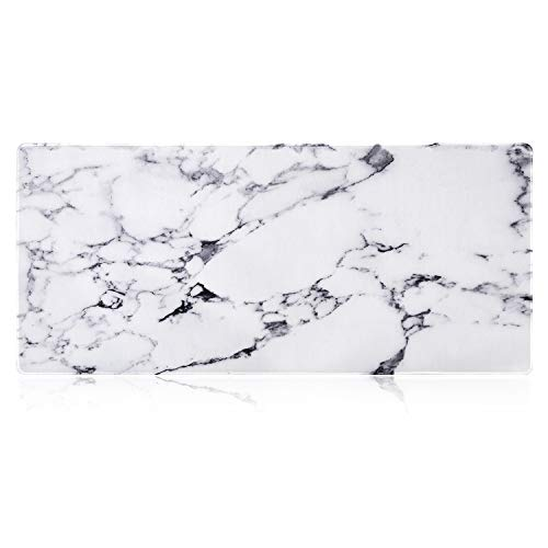 iLeadon Extended Gaming Mouse Pad - Non-Slip Water-Resistant Rubber Base Computer Keyboard Mouse Mat, 35.1 x 15.75-inch 2.5mm Thick XX-Large, Ideal Partner for Work & Game, White Marble