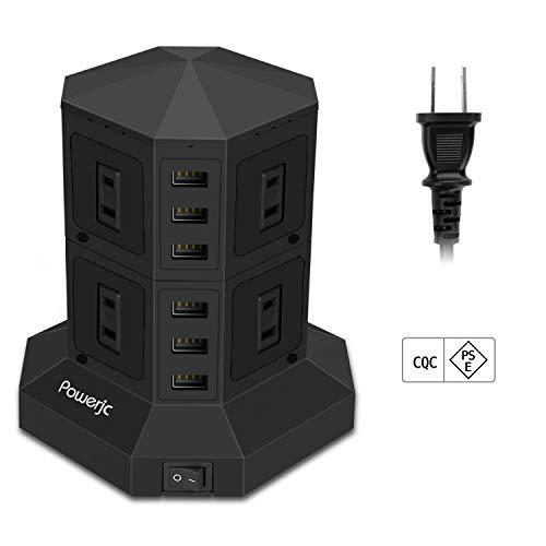 タワー式電源タップPowerjc 2層縦コンセント 8ACスマート高速充電雷ガード 過負荷保護 省エネ 延長コード1.5m オフィス/家庭給電用 出力定格電力1500W