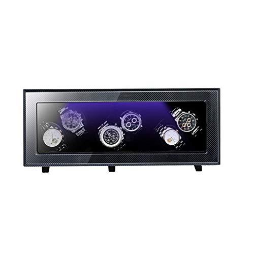 Cajas giratorias para relojes, Caja enrolladora de reloj automática, motor silencioso, 5 modos de rotación, caja de almacenamiento de exhibición de reloj múltiple, gabinete de seguro seguro (Color: