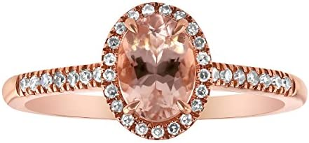 Olivia Paris 14k Rose Gold Oval Morganite and Diamond Halo Vintage Ring 0 15 cttw Size 7 product image