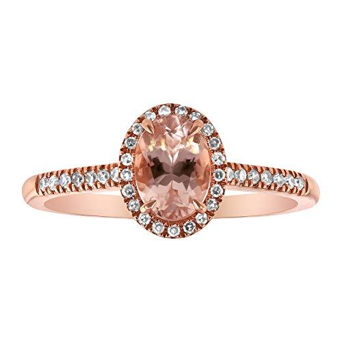 Olivia Paris 14k Rose Gold Oval Morganite and Diamond Halo Vintage Ring (0.15 cttw.) Size 7