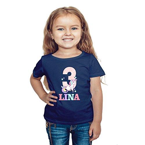 wolga-kreativ T-Shirt Geburtstag Mädchen ich Bin Schon 1 2 3 4 5 6 7 8 9 Jahre mit Namen Einhorn Geburtstagsshirt personalisiert Kindergeburtstag Geschenk Kinder