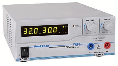 PeakTech 1580 – Labornetzgerät DC 1-32V / 0-30A mit USB, LED-Anzeige, DC-Schaltnetzteile, Stromversorgung, 3 benutzerdefinierte Voreinstellungen für Messwerte, Überlastungsschutz - 200~240 V AC