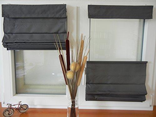 IXX-Design Faltrollo, Raffrollo, Raffstore schnurlos mit Plissee Technik, frei verschiebbar, Farbe: grau, Größe: 60x130cm, für Decken - Wandmontage und Montage ohne Bohren, auf dem Rahmen