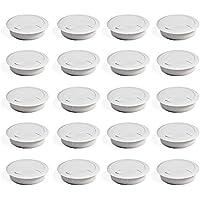EMUCA - Pasacables de Mesa Circular Ø60mm de plástico Blanco, Tapa pasacables encastrable en Mesa de Oficina/Escritorio, Lote de 20