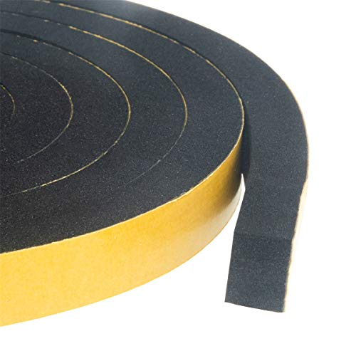 High Density Foam Tape-2 Rolls, 1/2 Inch Wide X 3/8 Inch Thick, Self Adhesive Weather Stripping Insulation Foam Neoprene Weather Stripping Total 13 Feet Long(6.5ft x 2 Rolls)