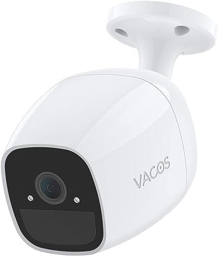 Telecamera di sicurezza per esterni, senza fili, con batteria Vacos con audio a 2 vie, rilevamento PIR, impermeabile 1080p, supporto per Alexa, Google Assistant, locale eMMC e archiviazione cloud
