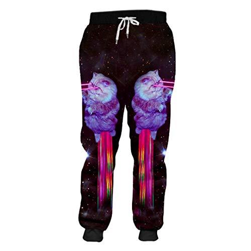 DE-pants-personality Frühling Jogginghose Männer Jogger Hosen Lose 3D Gedruckt Blue Shark Lässige Kleidung Mann Pluderhosen Purple XXL