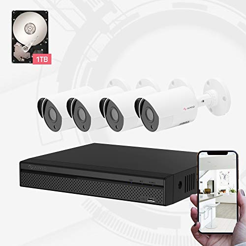 Dahua OEM Aivio 4CH Wired Security Surveillance System H.264+ 1080P DVR & 4X 1080P HD CCTV Camera System, 100ft Night Vision, Mobile Remote Access, Outdoor IP67 Waterproof 1TB Hard Drive