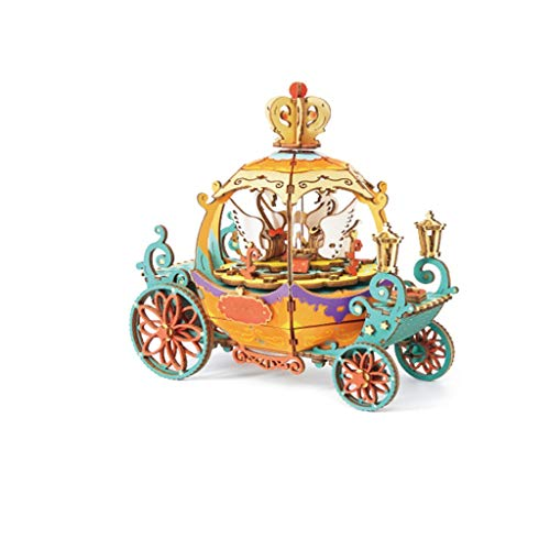 Music Box Music Box Building Kits - 3D Wooden Puzzle Best Gift for Aults & Teens,Boys and Girls When Christmas/Birthday/Valentine's Day Christmas (Color : Orange)
