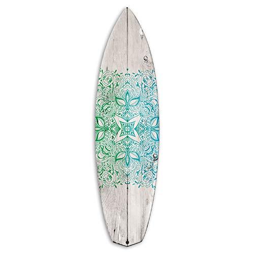 Vertikale Décoration Murale Planche Surfboard Alu Motif Oriental Effet Bois Blanchi 3 Modèles 150 x 40 cm (Eau)