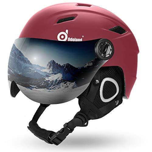 Odoland Casco de Esquí Integral con Gafas de Esquí, Casco Deportivo Unisex para Adultos y Jóvenes, Casco de Esquí con Visera Protección UV 400 y a Prueba de Viento, Carmesí, XL:60-62cm