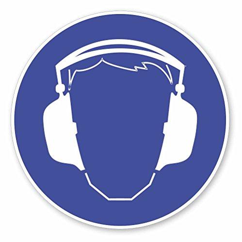 easydruck24de Gebots-Aufkleber Gehörschutz benutzen I hin_174 I Ø 9 cm I Gebotshinweis Sicherheitszeichen Gebotszeichen Hörschutz tragen Ohren schützen klein blau