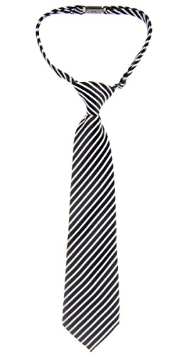 Retreez Modern Stripe Woven Microfiber Pre-tied Boy's Tie - Black with Silver - 6-18 months