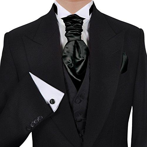 GASSANI (Set Di 3 Plastron Cravatta Larga, Cravatta Da Sposa, Nera, Fazzoletto Da Taschino Gemelli, Al Gilet Da Sposa Fracetto Da Sposa