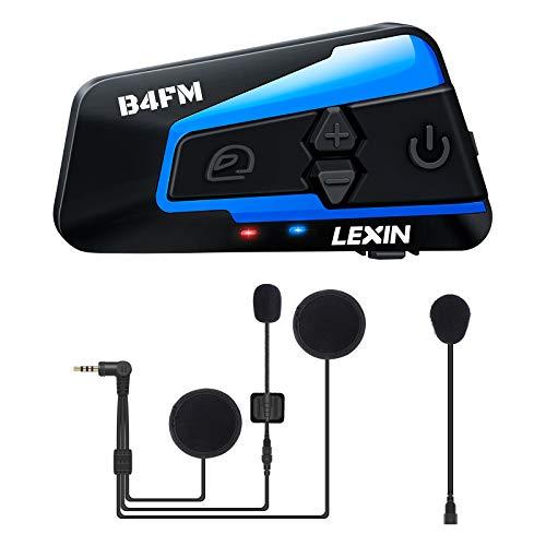 LEXIN B4FM Intercomunicador Casco Moto Bluetooth con Radio FM,Sistema Comunicador Casco de Reducción de Ruido, Manos Libres para Moto,4 Motoristas Tienen Distancia de hasta 1200M para Moto/Off-Road