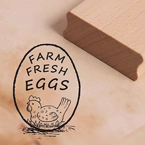 Stempel Farm Fresh Eggs - Motivstempel Legehenne ca. 28 x 38 mm