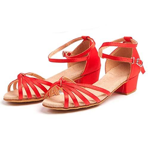 WEXCV Kinder Mädchen Krawatte Ballsaal Latin Tango Tanzschuhe Stöckelschuhe Party Schuhe (EU:30, Rot)