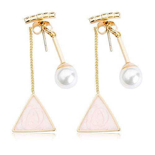 Family Needs Diamond Pearl Triangle Drop Earrings Geometry Later Opknoping Oorbellen anti-allergie Ear Ornamenten (Color : 01Pink6902)