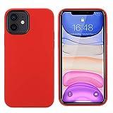 THBY Funda iPhone 12, Carcasa iPhone 12 Pro, Líquido Silicona Gel Antichoque Protectora Cover con Forro de Microfibra para Apple iPhone 12 y 12 Pro.(6.1 Inch, Rojo)
