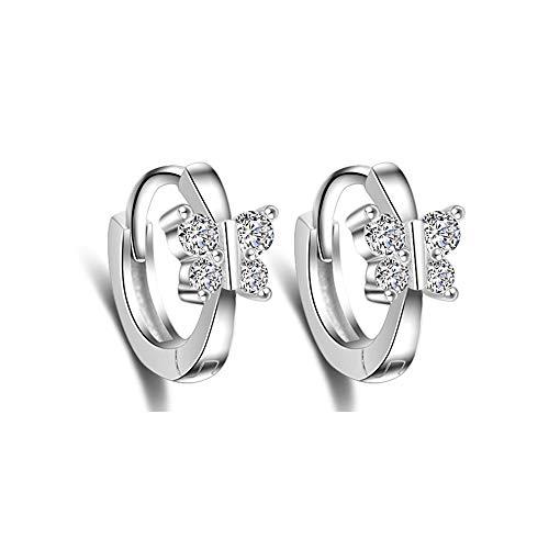 Cute Butterfly Sleeper Small Hoop Earrings Sterling Silver CZ Crystal Huggie Round Cartilage Hoops Earring Ear Cuffs Piecing for Women Teen Girls Sensitive Ears