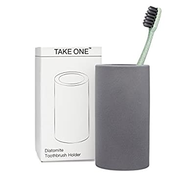 Organic Toothbrush Holder Grey Diatomite Bathroom Countertop Organizer Stand