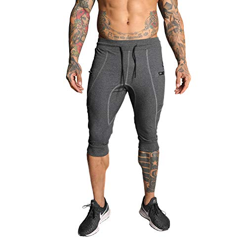 FIRSTGYM Mens Casual Slim Fit 3/4 Jogger Pants Workout Shorts Thigh Sweatpants with Zipper Pockets Dark Grey