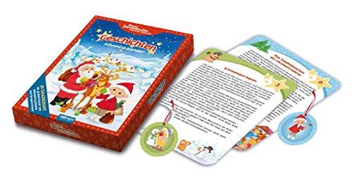 Trötsch Adventskalender 24 Geschichten für den Advent: 24 Geschichten-Karten, 24 Schaumsticker und Wendeposter in Geschenkbox (Unser Sandmännchen)