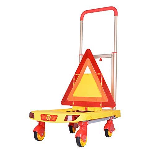 Vouwen Push Hand Truck met 4 Remwielen, Draagbare Rolling Platform Cart met Beveiliging Waarschuwingsfunctie, Flatbed Bagage Cart voor Reizen, Winkelen, Auto en Office(62×37×8CM)