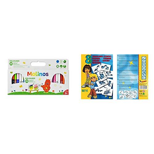 MALINOS 300029 Malzauber 25 Stifte, noch mehr Spaß im Kinderzimmer oder beim Kindergeburtstag, 25er Set Zauberstifte & 301007 Stifte BloPens Schablonen Set K-Technik
