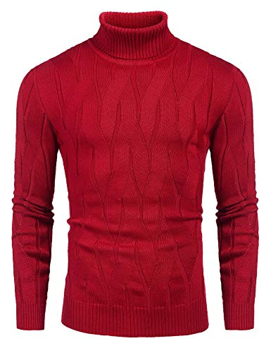 COOFANDY Men's Slim Fit Turtleneck Sweater Casual Knitted Pullover Sweaters Red