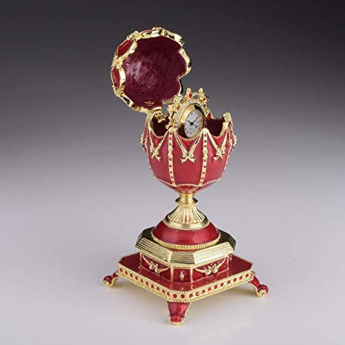 Keren Kopal Red Faberge Egg with Clock Inside Trinket Box Russian Egg Decorated with Swarovski Crystals Collectors Easter Egg