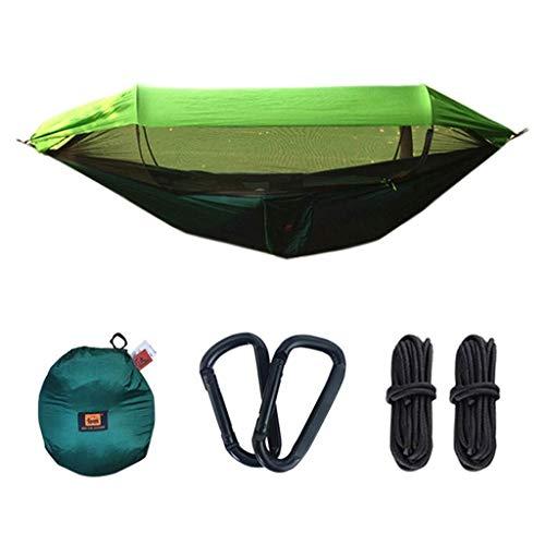 Hamacs, Meubles de Camping Ouverture de Vitesse d'ombrage extérieur Balançoire Simple en Plein air Rangement Facile Tente Anti-accroupie Charge 200 kg (Couleur: Vert, Taille: 250 * 120cm) Confortable