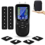 TENS Unit Muscle Stimulator for Pain Relief Therapy, Dual Channels Electronic Pulse Massage EMS Deivce with Travel Hard Case (Black)