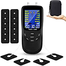 TENS Unit Muscle Stimulator for Pain Relief Therapy, Dual Channels Electronic Pulse Massager EMS Deivce with Travel Hard Case (Black)