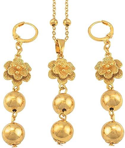 WSBDZYR Co.,ltd Collar de Moda Conjuntos de Joyas de Flores y Perlas Collar de Perlas Collar Pendientes para Mujer Joyería de Bola Redonda de Moda Regalos Collar Longitud 60cm Cadena
