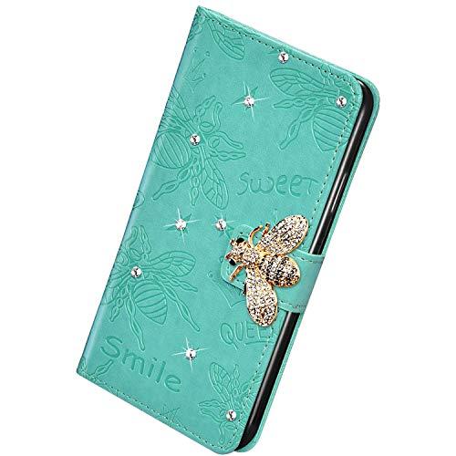 Herbests Kompatibel mit Samsung Galaxy A20e Handyhülle Leder Klapphülle Glitzer 3D Bling Strass Diamant Biene Blumen Schutzhülle Flip Cover Brieftasche Leder Hülle mit Standfunktion,Grün
