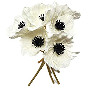 FRP Flowers – Anemone Poppy – 7 PCS Bouquet Real Touch Artificial Flowers for Floral Arrangements and Home Decor (10 Inches) (White)