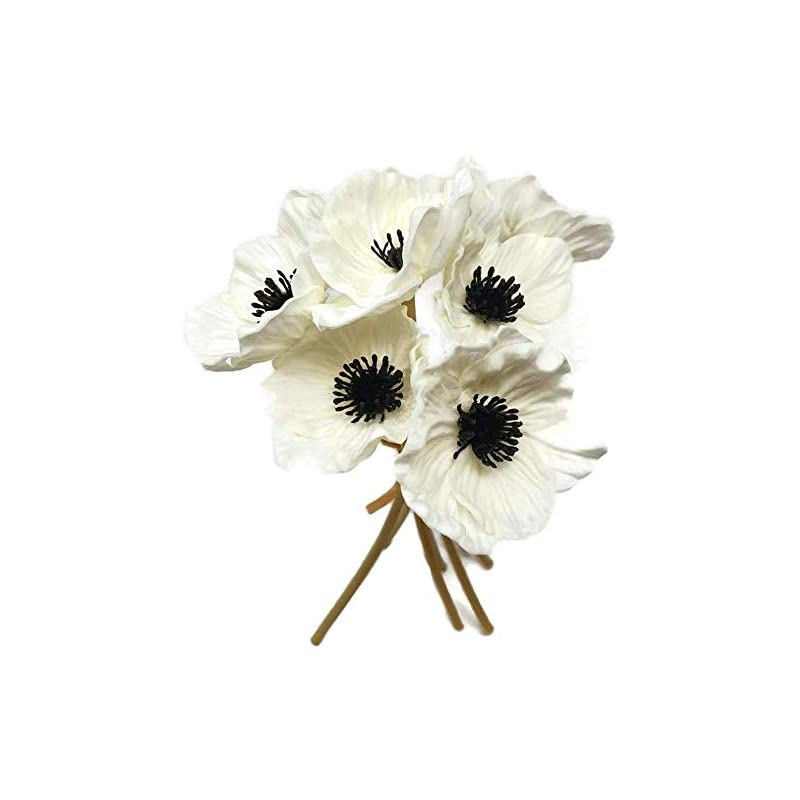 silk flower arrangements frp flowers - anemone poppy - 7 pcs bouquet real touch artificial flowers for floral arrangements and home decor (10 inches) (white)