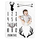 Baby Monthly Milestone Blanket Boy - Deer Newborn Month Blanket Neutral Personalized Shower Gift Woodland Nursery Decor Photography Background Prop with Frame Large 51''x40''