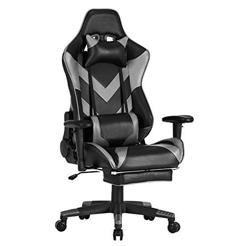 WOLTU® Racing Stuhl BS20gr Gaming Stuhl Bürostuhl Schreibtischstuhl Sportsitz mit Kopfstütze und Lendenkissen, Armlehne verstellbar, mit Fußstütze, Kunstleder, höhenverstellbar, Grau