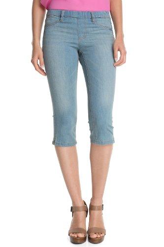 edc by ESPRIT Damen Capri Jeans Normaler Bund 063CC1B017 Tregging, Gr. 40, Blau (947 Bleached Denim)