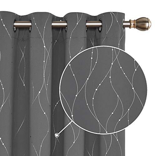 Deconovo Tende Oscuranti Termica Isolante con Anelli Stampa Fili e Cerchi per Finestre Soggiorno 140x245cm 2 Pannelli Grigio Chiaro