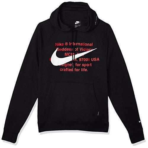 Nike Herren M NSW Swoosh Hoodie PO FT Sweatshirt, Black/White, XL