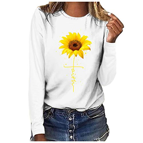 Women's Sunflower Print Long Sleeve Crew Neck Fit Casual Sweatshirt Tops Shirts Loose Tunic Blouse Youmore