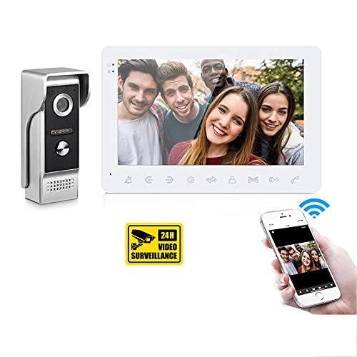 GUOZ Sistema de intercomunicación telefónica de Video WiFi Smart Video WiFi de 7 Pulgadas con la cámara del desbloqueo de la Tarjeta TF de la cámara del Timbre con Cable
