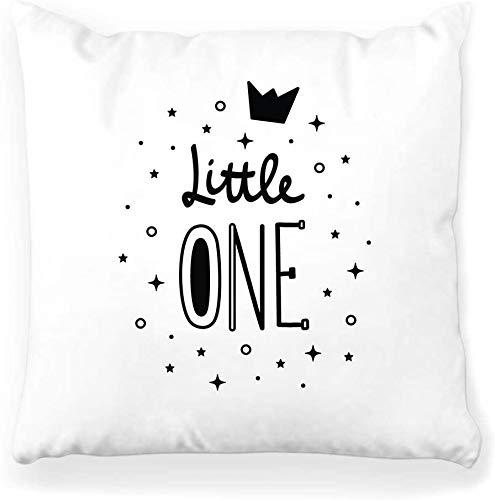 BONRI Funda de Almohada Decorativa Cuadrada 16 x 16 Letras Little One Crown Cute Baby Slogan Sketch Modern Mother Nursery Frase Print Decoración del hogar Funda de Almohada con Cremallera
